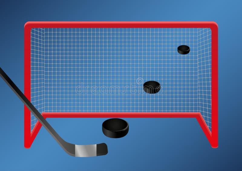 Ijshockey - doel reeks pucksvliegen door de lucht in het ijshockeydoel royalty-vrije illustratie