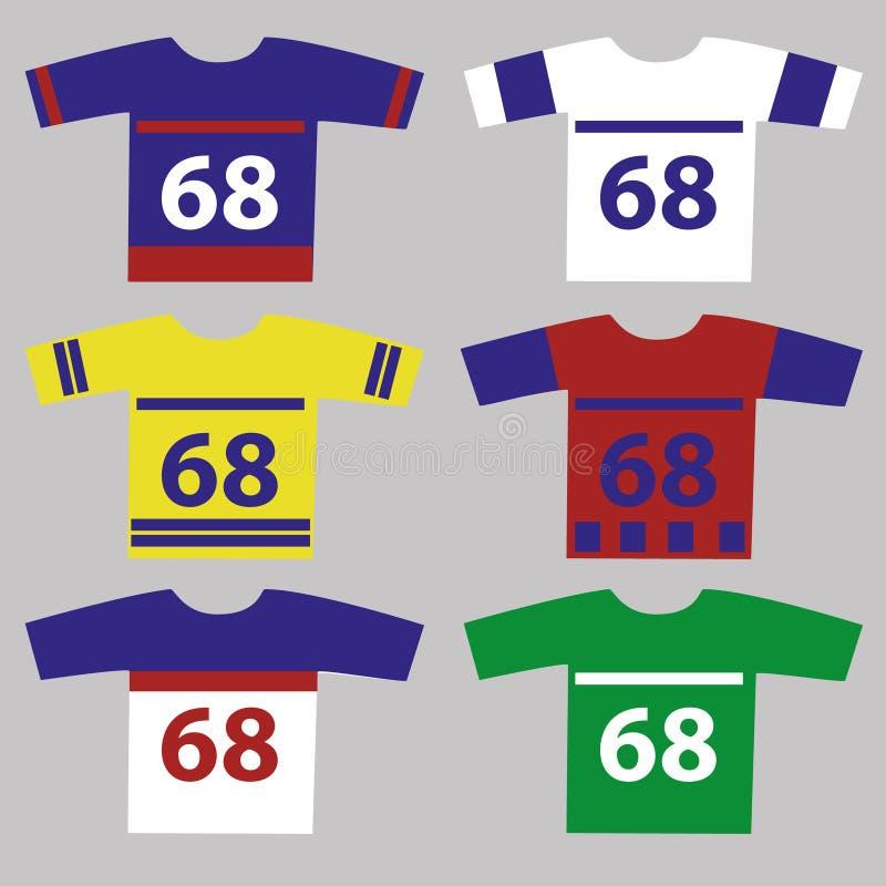Ijshockey Jersey dat met speleraantallen wordt geplaatst stock illustratie
