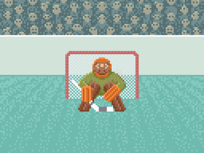 Ijshockeykeeper - Pixel Art Illustration stock illustratie