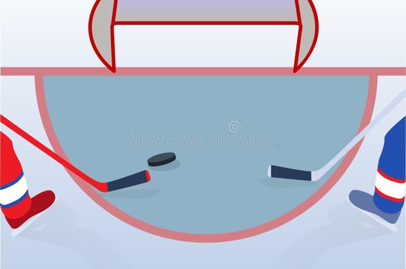 Ijshockeyspeler met Stok en Puck Vector illustratie vector illustratie