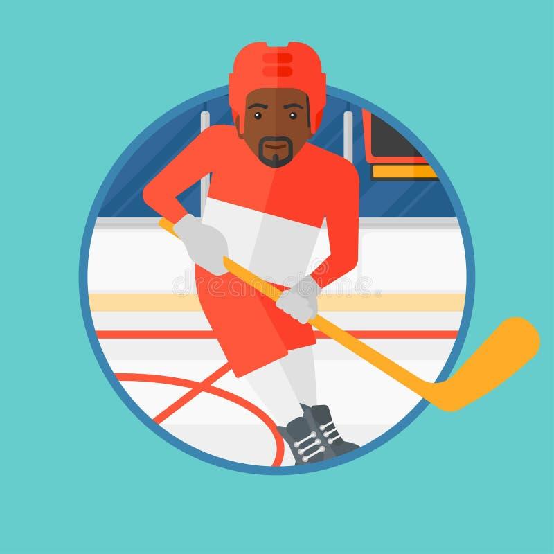 Ijshockeyspeler met stok vectorillustratie royalty-vrije illustratie