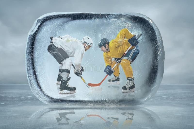 Ijshockeyspelers stock afbeelding