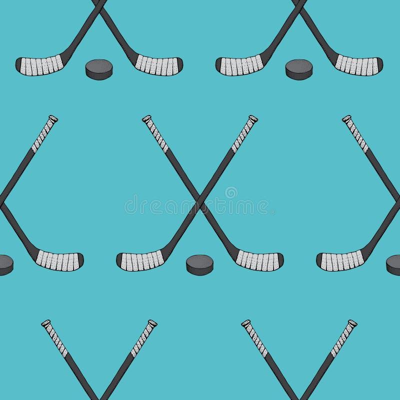 Ijshockeystok met puck naadloos patroon Sporten Vectordieillustratie op blauwe achtergrond wordt geïsoleerd Ijshockeysporten vector illustratie