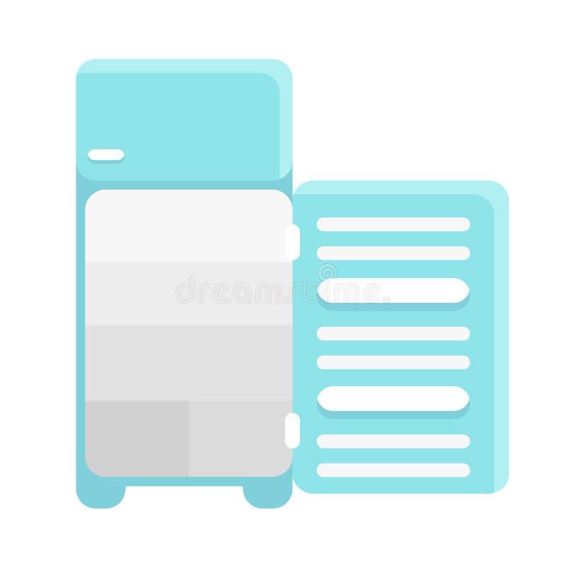 Ijskast met geopende deur, vlakke gradiëntstijl, vectordieillustratie op wit wordt geïsoleerd stock illustratie