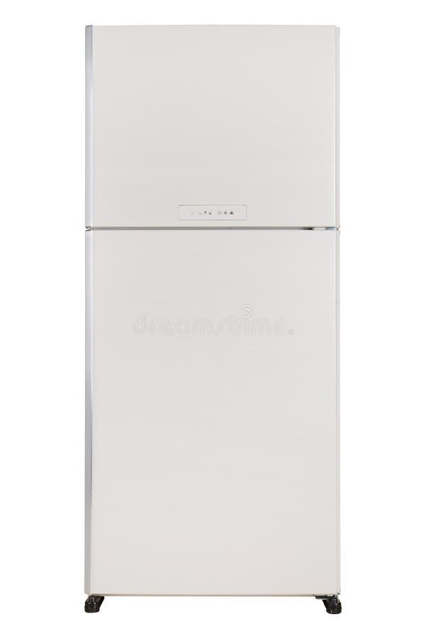 Ijskast op witte achtergrond wordt ge?soleerd die Moderne Keuken en Binnenlands Major Appliances stock foto