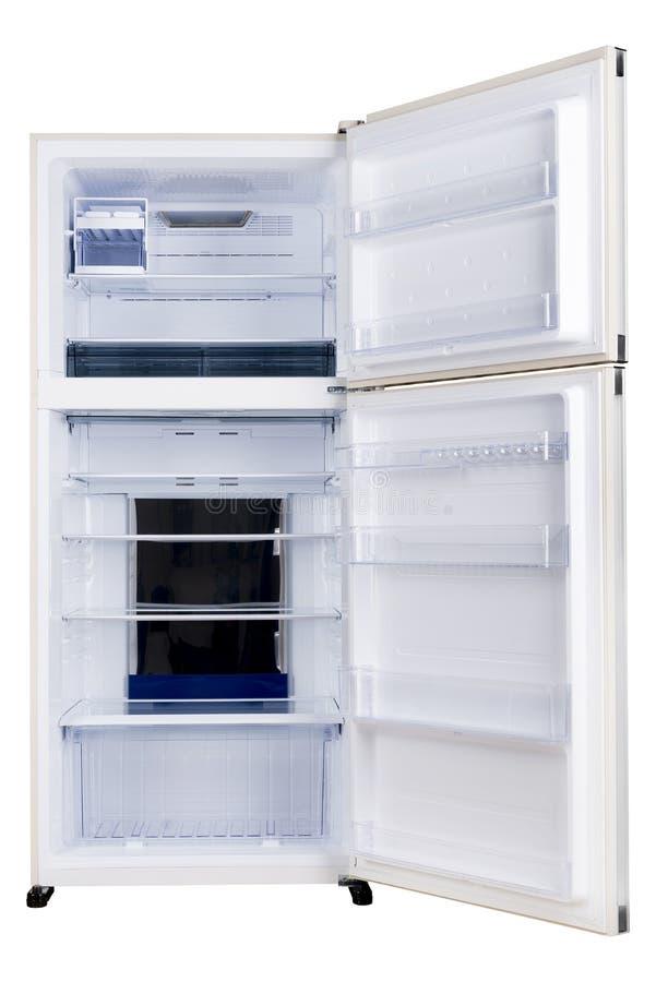 Ijskast op witte achtergrond wordt ge?soleerd die Moderne Keuken en Binnenlands Major Appliances royalty-vrije stock afbeeldingen