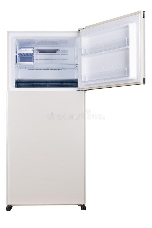 Ijskast op witte achtergrond wordt ge?soleerd die Moderne Keuken en Binnenlands Major Appliances stock foto's