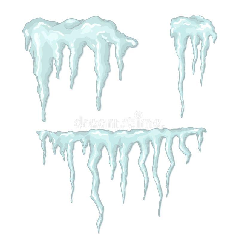 Ijskegels. De winterthema. Vectorillustratie. royalty-vrije illustratie