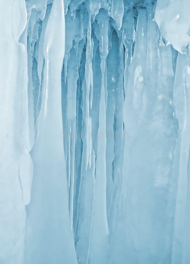 Ijskegelsachtergrond op de ijsmuur op het meer van Baikal bij de winter royalty-vrije stock afbeelding