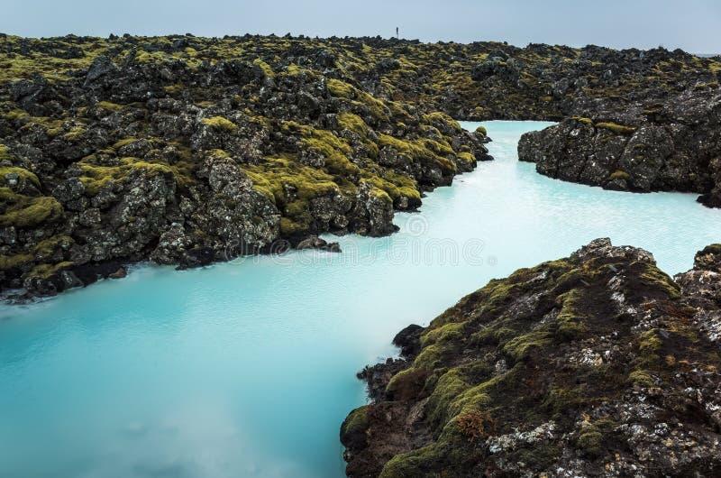 IJsland, Blauwe lagune Natuurlijk geothermisch kuuroord royalty-vrije stock foto