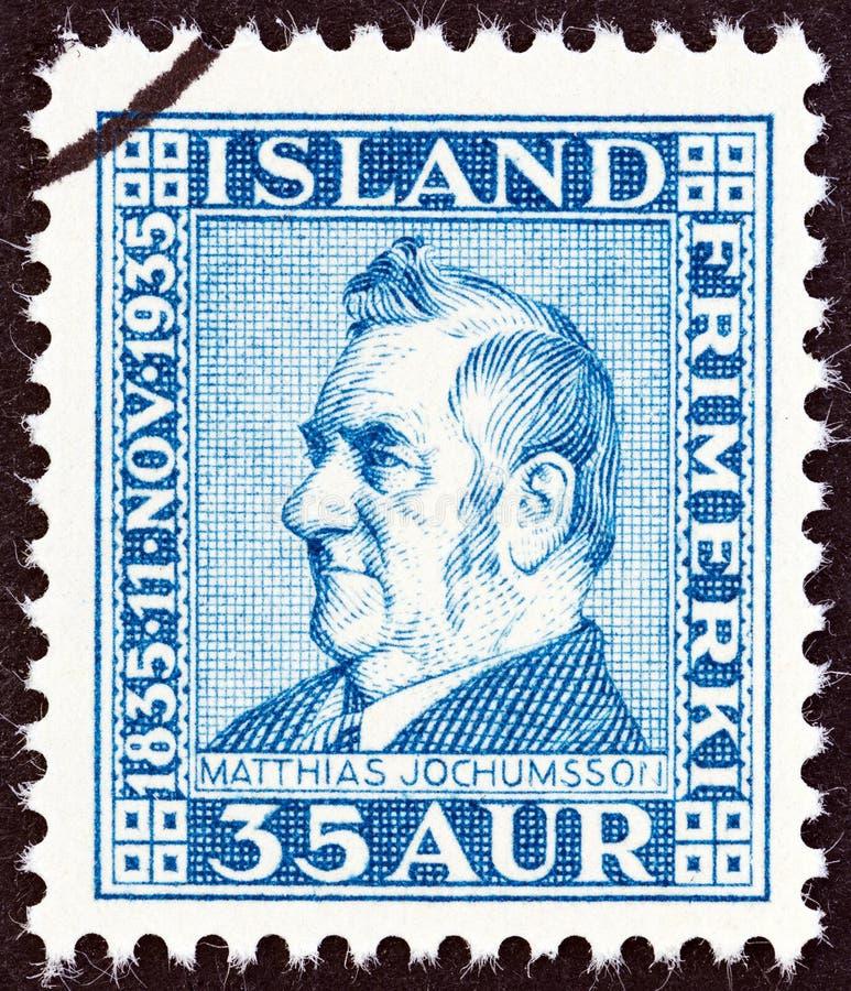 IJSLAND - CIRCA 1935: Een zegel in IJsland wordt gedrukt toont dichter Matthias Jochumsson, circa 1935 die royalty-vrije stock fotografie