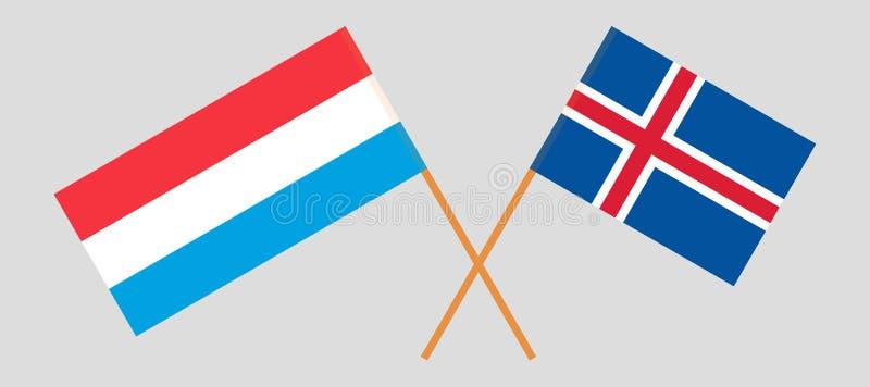 IJsland en Luxemburg De Ijslandse en Luxemburgse vlaggen Offici?le kleuren Correct aandeel Vector vector illustratie