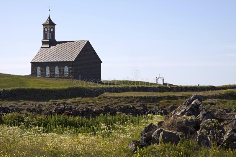 IJsland: Kerk in een klein gehucht royalty-vrije stock foto's