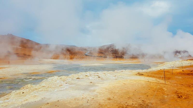 IJsland - rokende hete potten stock fotografie