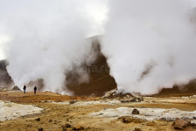 IJsland - Vulkanische Fumarole in Namaskard royalty-vrije stock foto