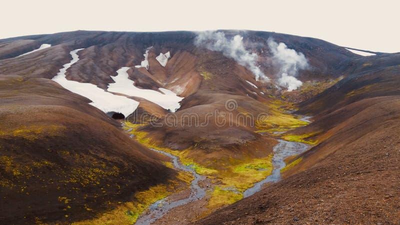 IJsland, warm water, de lentes in Laugavegur-trek royalty-vrije stock foto's