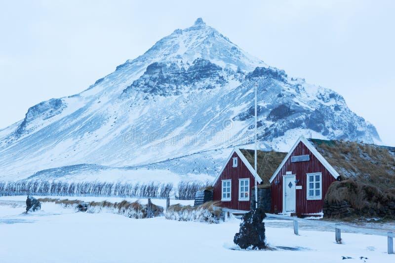 Ijslandse grashuizen in Arnarstapi stock foto's