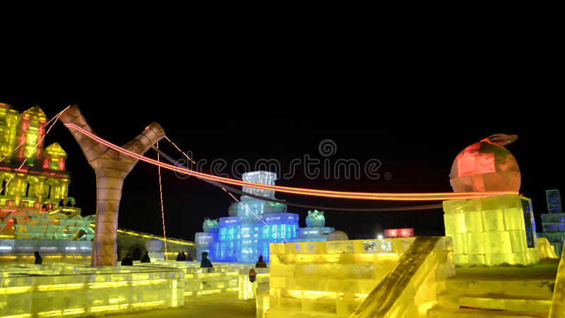 Ijslicht in Harbin, China, Hei Longing Province stock fotografie