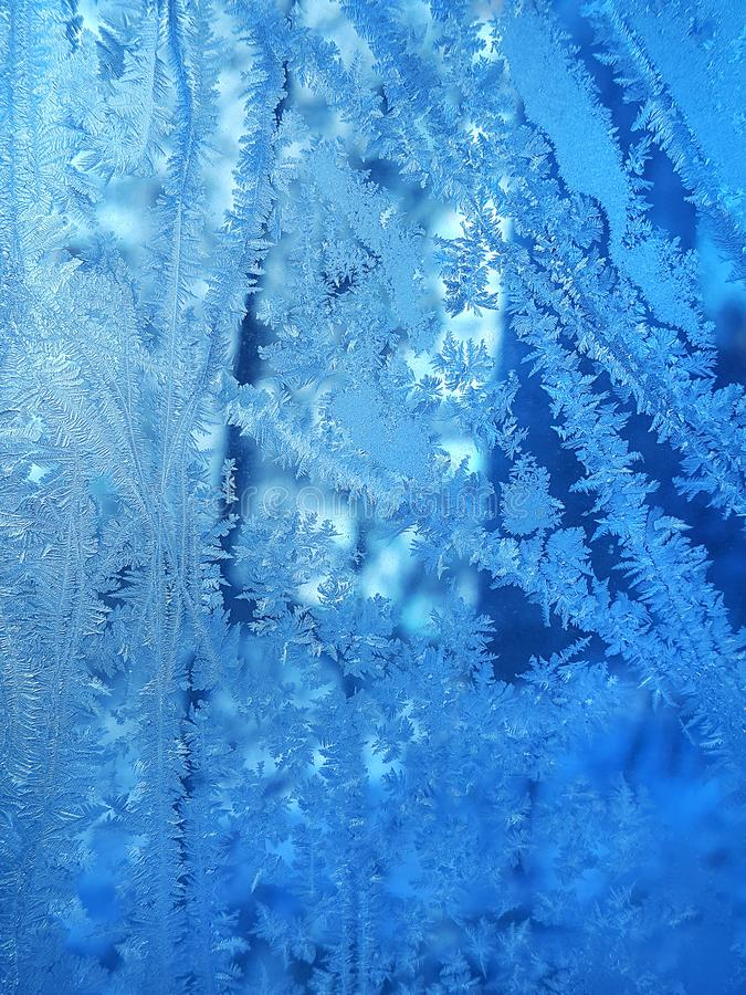 Ijspatroon op de winterglas stock fotografie