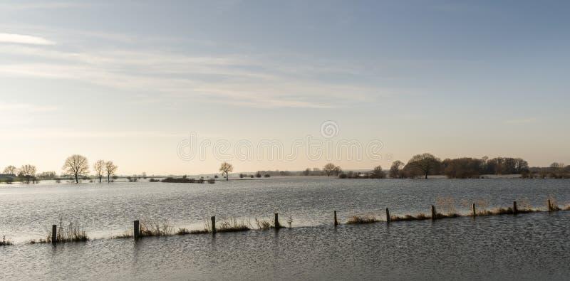 IJssel tereny zalewowy przy Bronkhorst zdjęcia stock