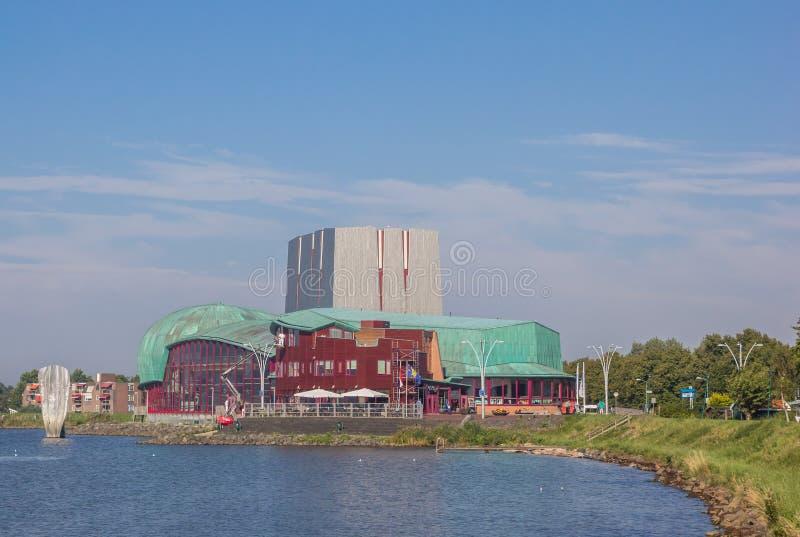 IJsselmeer湖的城市剧院在荷恩 库存图片