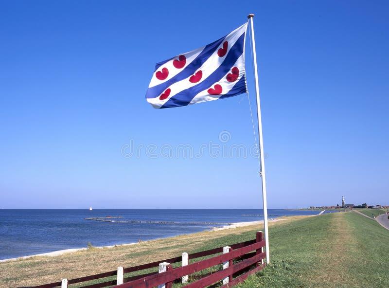 Ijsselmeer coast by Hindeloopen, Friesland, Netherlands royalty free stock photography