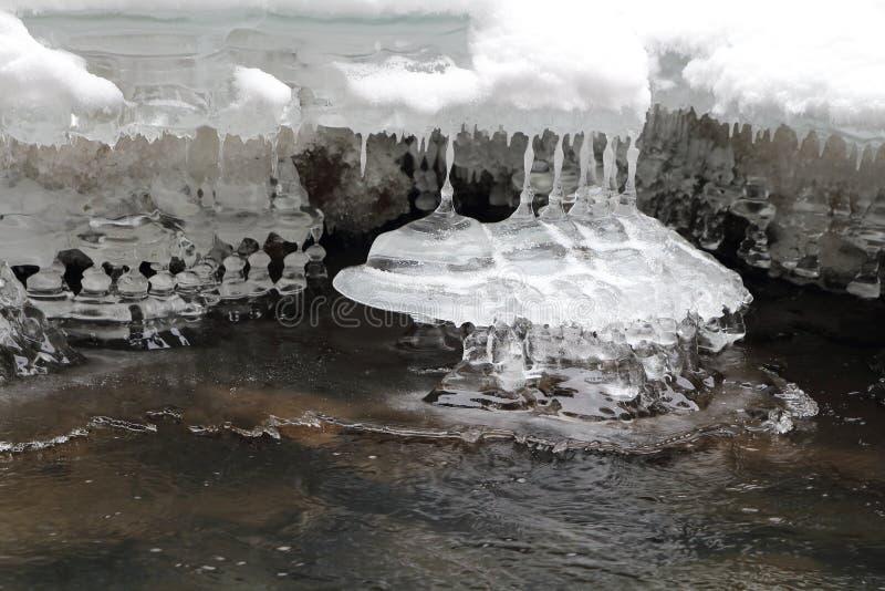Ijsstalactieten, Slowaaks Paradijs Nationaal park, Slowakije royalty-vrije stock foto