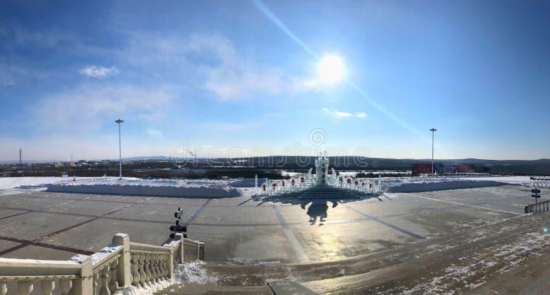IJsstandbeeld in de winter stock foto's