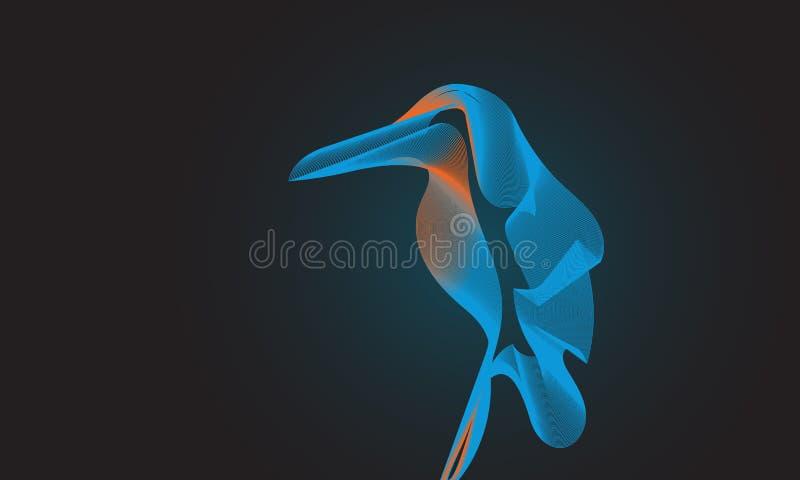 Ijsvogelvogel op zwarte achtergrond Mengselhulpmiddel stock illustratie