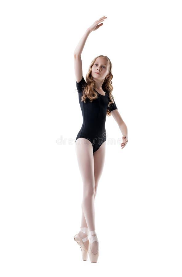 Ijverig weinig die ballerina, op wit wordt geïsoleerd stock foto's