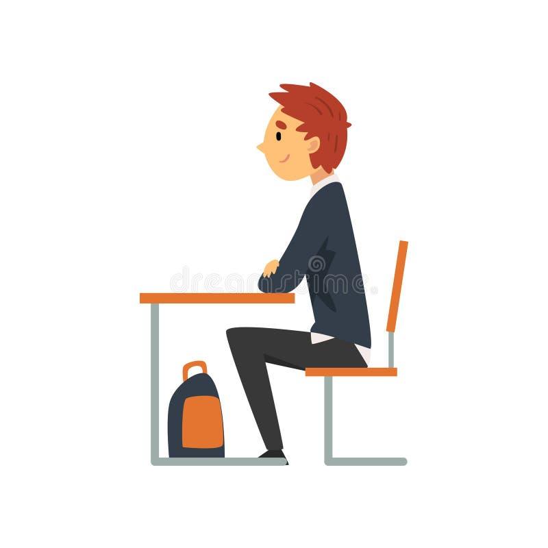 Ijverige Student Sitting bij Bureau in Klaslokaal, Zijaanzicht, Schooljongen in het Eenvormige Bestuderen op School, Universiteit royalty-vrije illustratie