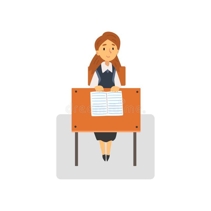 Ijverige Vrouwelijke Student Sitting die bij Bureau in Klaslokaal, Schoolmeisje op School, Universiteits Vectorillustratie bestud royalty-vrije illustratie