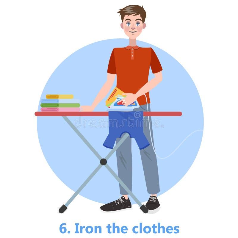 Ijzer en stapel van kleren van strijkplank stock illustratie