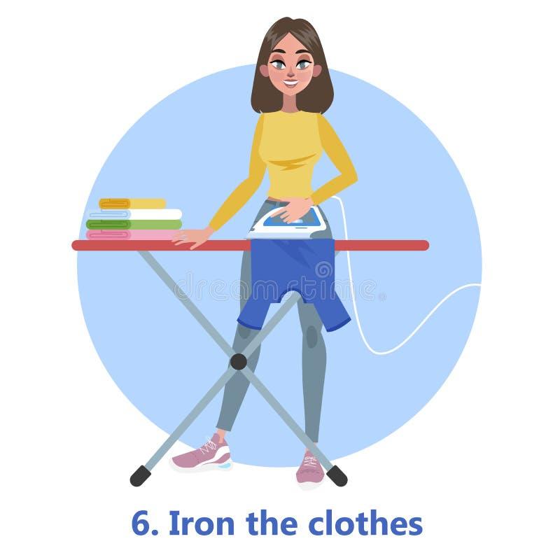 Ijzer en stapel van kleren van strijkplank royalty-vrije illustratie