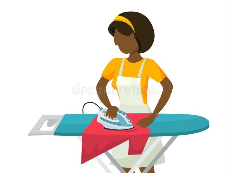 Ijzer en stapel van kleren van strijkplank vector illustratie