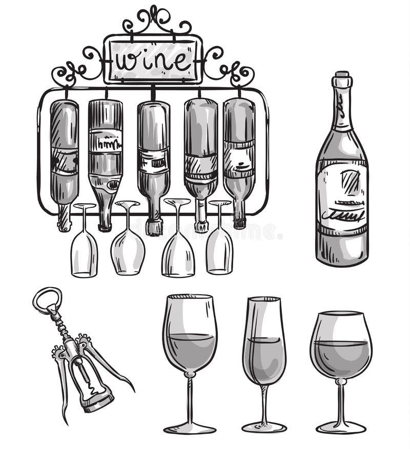 Ijzer gegoten wijnhouder, flessen en glazen vector illustratie