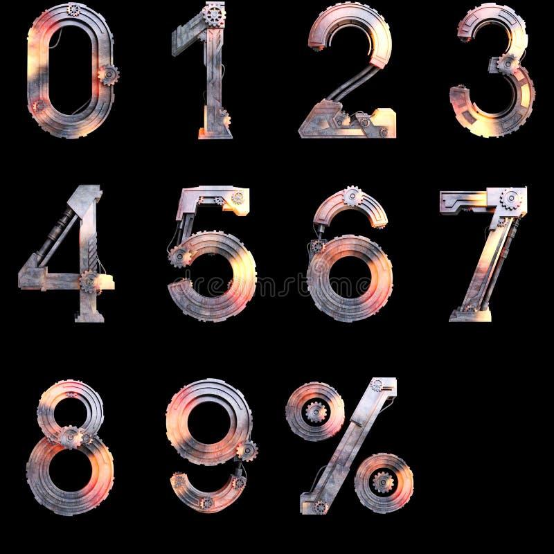 Ijzer mechanische aantallen van nul tot tien royalty-vrije illustratie