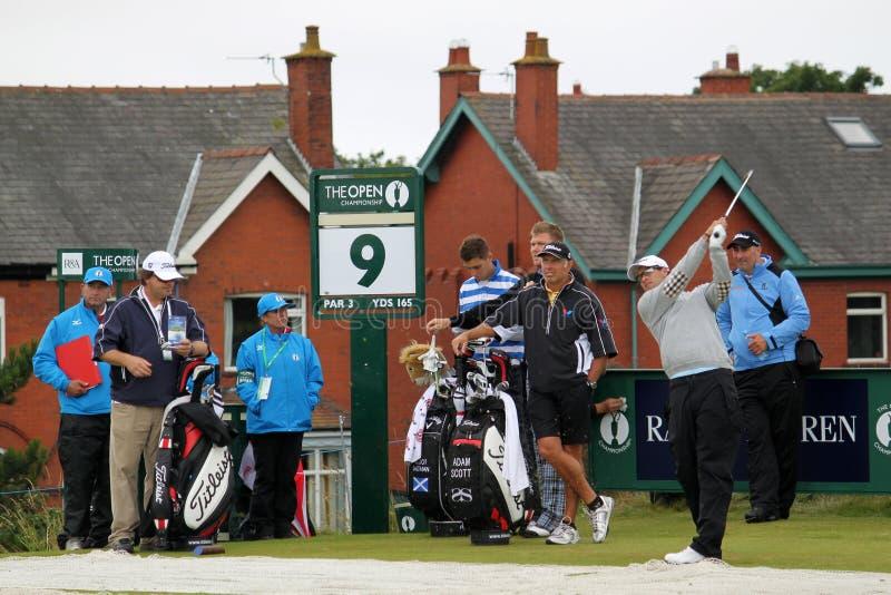 Ijzer van Adam Scott ontsproot het Open 9de T-stuk van het Golf 2012 royalty-vrije stock afbeelding