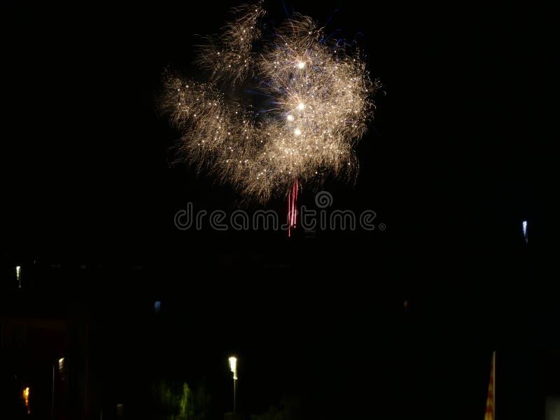 Ijzerkruid van de nacht van Sant Joan, raketten en voetzoekers royalty-vrije stock afbeeldingen