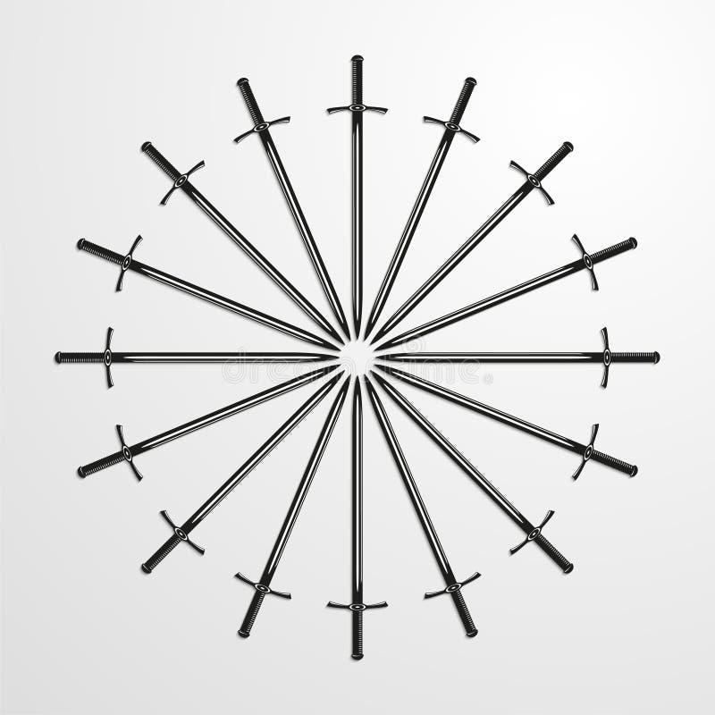 Ijzerzwaarden in een cirkel worden opgestapeld die Vector illustratie vector illustratie