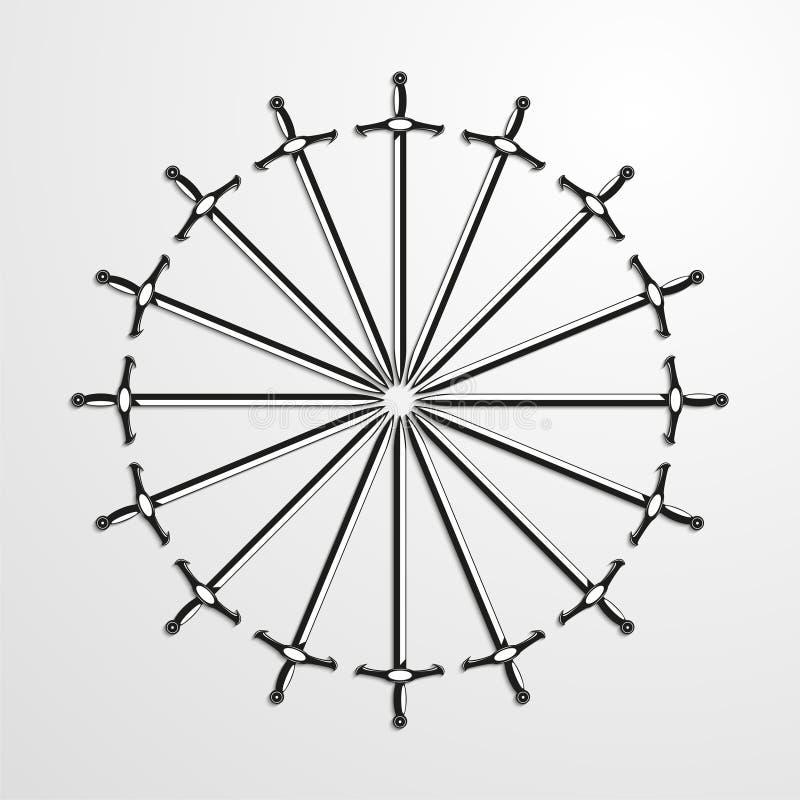 Ijzerzwaarden in een cirkel worden opgestapeld die Vector illustratie stock illustratie
