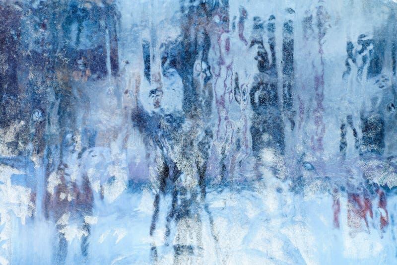 Ijzig patroon op het venster Mooie natuurlijke achtergrond Het thema van de winter Close-up stock illustratie