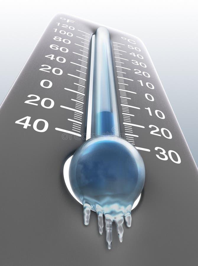 Ijzige thermometer royalty-vrije illustratie
