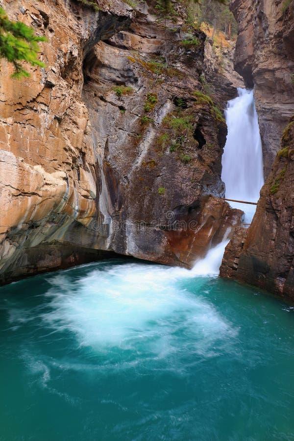 Ijzige Waterpool bij Lagere Val van Johnston Canyon, het Nationale Park van Banff, Alberta royalty-vrije stock foto