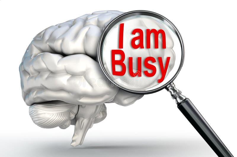 Ik ben bezig woord op vergrootglas en menselijke hersenen royalty-vrije illustratie