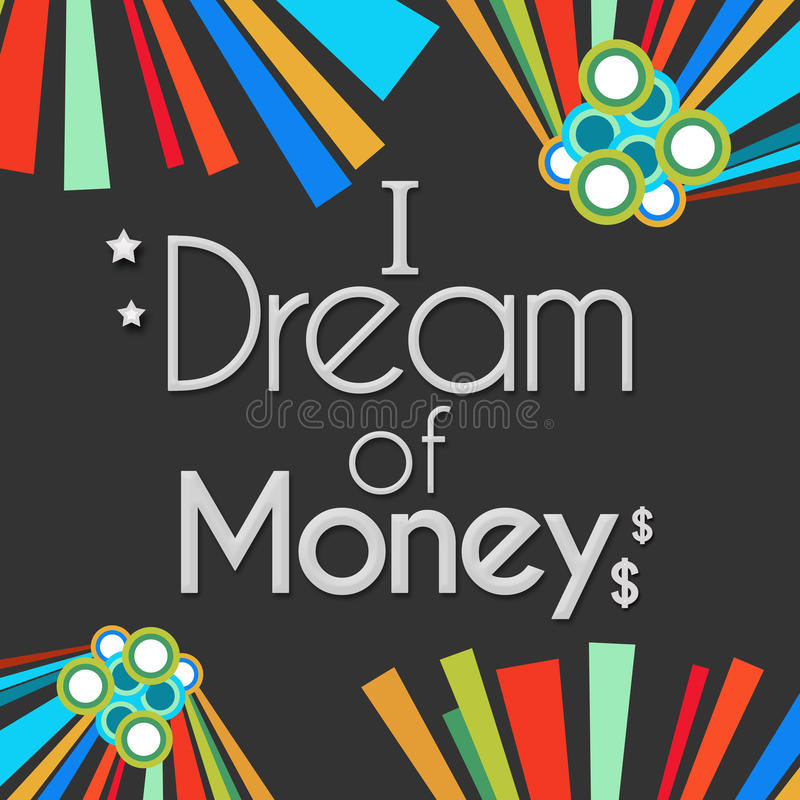 Ik droom van Geld Donkere Kleurrijke Elementen stock illustratie