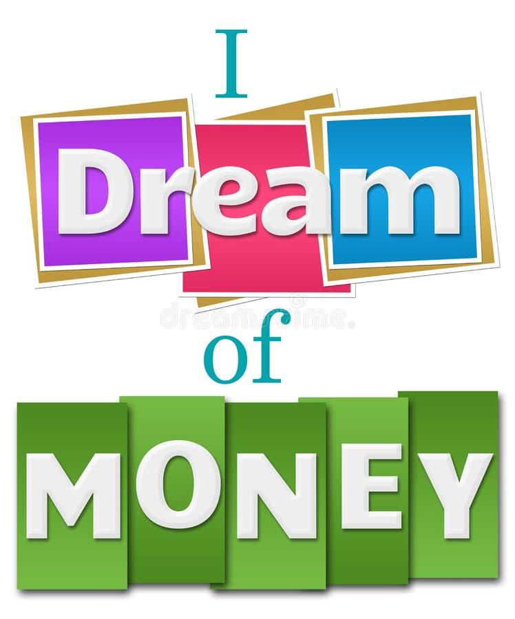 Ik droom van Geld Kleurrijke Vierkante Strepen royalty-vrije illustratie