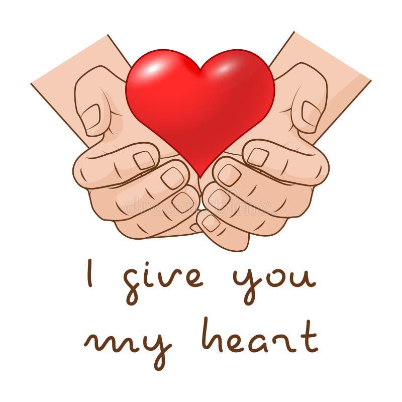 Ik geef u mijn hart Hart ter beschikking van romantisch giftconcept voor Valentijnskaartendag vector illustratie