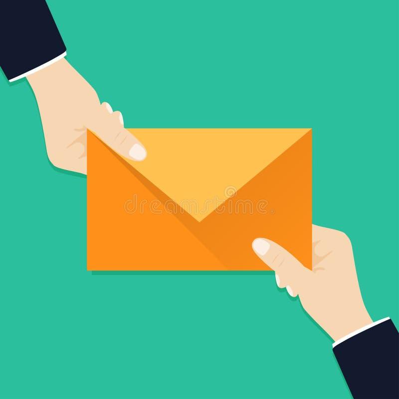 Ik heb één binnenkomend bericht voor u De envelop van de handholding, brief E-mailberichtconcept Nieuw, inkomend bericht vector illustratie