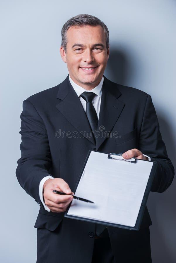 Ik heb hier uw handtekening nodig royalty-vrije stock foto's